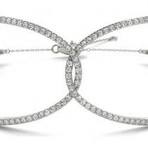 Diamond Butterfly Bangle Fashion Bracelet 14k White Gold (0.64ct)