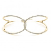 Diamond Butterfly Bangle Fashion Bracelet 14k Yellow Gold (0.64ct)