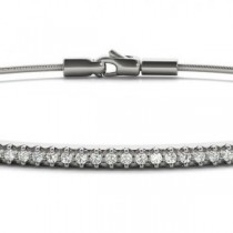 Diamond Horizontal Bar Bangle Bracelet 14k White Gold (0.14ct)