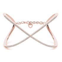 X Shaped Open Bangle Diamond Bracelet 14k Rose Gold (1.65ct)