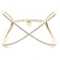 X Shaped Open Bangle Diamond Bracelet 14k Yellow Gold (1.65ct)