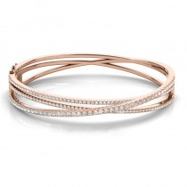 Diamond Multi-Row Bangle Bracelet 14k Rose Gold (2.27ct)