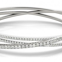 Diamond Multi-Row Bangle Bracelet 14k White Gold (2.27ct)