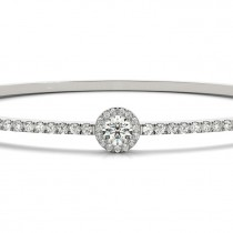 Diamond Halo Solitaire Bangle Pave Bracelet 18k White Gold (1.80ct)