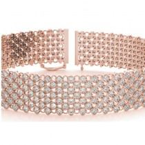 Diamond Multi-Row Wide Luxury Bridal Bracelet 18k Rose Gold (4.16ct)|escape