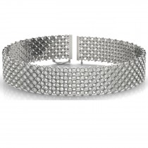 Diamond Multi-Row Wide Luxury Bridal Bracelet 18k White Gold (4.16ct)
