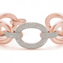 Luxury Italian Wide Diamond Bracelet 18k Rose Gold (5.27ct)