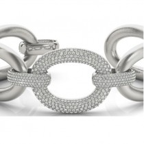 Luxury Italian Wide Diamond Bracelet 18k White Gold (5.27ct)