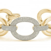 Luxury Italian Wide Diamond Bracelet 18k Yellow Gold (5.27ct)
