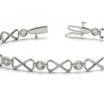 Diamond XOXO Infinity Link Bracelet 14k White Gold (0.24ct)