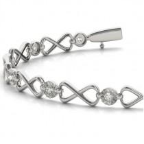 Diamond XOXO Infinity Link Bracelet 14k White Gold (0.24ct)