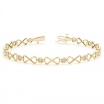 Diamond XOXO Infinity Link Bracelet 14k Yellow Gold (0.24ct)