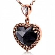 Black, Champagne & White Diamond Heart Necklace 18k Rose Gold (1.88ct)