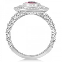 Diamond & Oval Pink Tourmaline Halo Carved Ring 14k White Gold (1.20ct)|escape