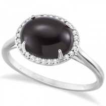 Diamond Accented Halo Onyx Fashion Ring 14k White Gold (3.56ct)