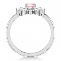 Diamond Pink Morganite Halo Ring 14k White Gold (0.96ct)