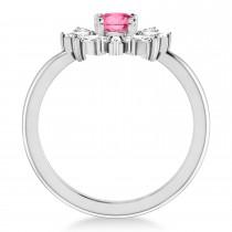 Diamond Pink Tourmaline Halo Ring 14k White Gold (1.01ct)