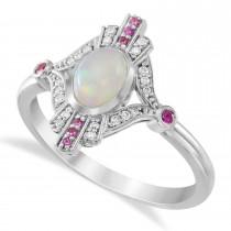 Diamond, Pink Sapphire, Opal Cabochon Ring 14k White Gold (0.6ct)