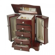 Mahogany Finish Wooden Jewelry Box. Hour Glass Style Upright Storage