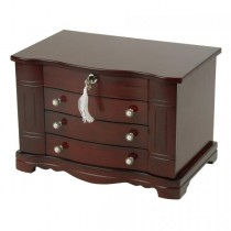 Locking Wooden Jewelry Box in Mahogany Finish, Jewel Storage Case