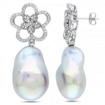Freshwater Baroque Pearl Earrings w/ Diamond Flowers 14k W Gold 17.5mm