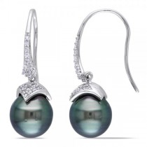 Black Tahitian Pearl & Diamond Drop Earrings 14k W. Gold 9-9.5mm
