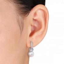 South Sea Pearl & Diamond Huggie Drop Earrings 14k. White Gold 9-9.5mm