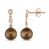 Chocolate Tahitian Pearl & Diamond Drop Earrings 14k Rose Gold 8.5mm