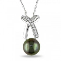 Black Tahitian Pearl Necklace with Diamond Bow 14k White Gold 0.10ct