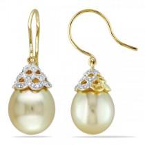 Golden South Sea Pearl & Diamond Drop Earrings 14k Y. Gold 10.5-11mm