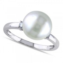 Solitaire South Sea Pearl Ring w/ Diamond Accents 14k W. Gold 9-5.10mm