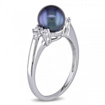 Black Freshwater Pearl Ring w/ Diamonds 14k W. Gold 7-7.5mm (0.20ct)