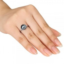 Black Tahitian Pearl Ring Diamond Accented 14k W. Gold 8-8.5mm