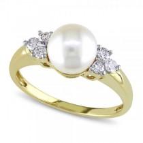 Akoya Pearl Ring w/ Diamond Accents 14k Yellow Gold 7-7.5mm