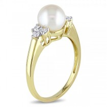 Akoya Pearl Ring w/ Diamond Accents 14k Yellow Gold 7-7.5mm