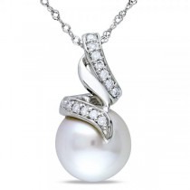 South Sea Pearl & Diamond Swirl Pendant Necklace 14k W. Gold 9.5-10mm