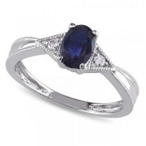 Oval Blue Sapphire & Diamond Promise Ring in 14k White Gold (0.60ct)