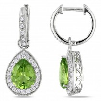 Diamond Halo Pear Shaped Peridot Drop Earrings 14k White Gold (3.80ct)