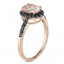 Oval Morganite & Black Diamond Halo Fashion Ring 14k Rose Gold 1.30ct|escape