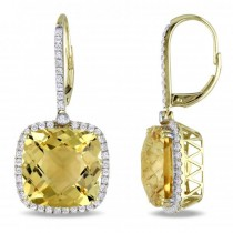 Cushion Cut Citrine Halo Diamond Drop Earrings 14k Yellow Gold 21.90ct