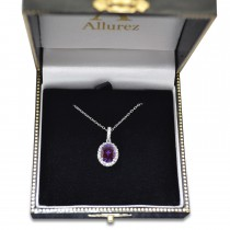 Lab Alexandrite & Halo Diamond Pendant Necklace in 14k White Gold 2.00ct