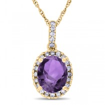 Amethyst & Halo Diamond Pendant Necklace in 14k Yellow Gold 2.00ct