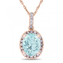 Aquamarine & Halo Diamond Pendant Necklace in 14k Rose Gold 2.00ct