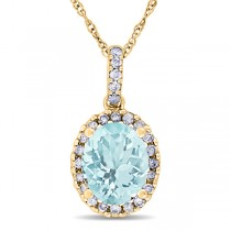 Aquamarine & Halo Diamond Pendant Necklace in 14k Yellow Gold 2.00ct
