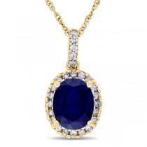 Blue Sapphire & Halo Diamond Pendant Necklace in 14k Yellow Gold 2.90ct
