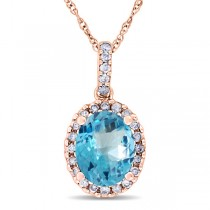 Blue Topaz & Halo Diamond Pendant Necklace in 14k Rose Gold 2.74ct
