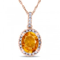 Citrine & Halo Diamond Pendant Necklace in 14k Rose Gold 2.00ct