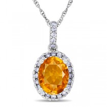 Citrine & Halo Diamond Pendant Necklace in 14k White Gold 2.00ct