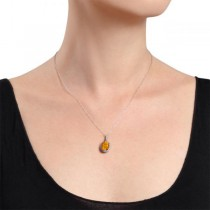 Citrine & Halo Diamond Pendant Necklace in 14k White Gold 2.00ct