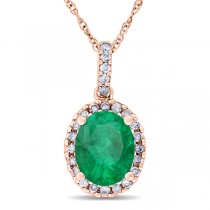 Emerald & Halo Diamond Pendant Necklace in 14k Rose Gold 2.14ct